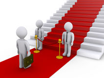 Businessman no access to stairs with red carpet. Businessman is refused access to stairs with red carpet by two others Stock Images
