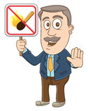Businessman - No fire sign. Vector Illustration of a businessman holding no fire sign Royalty Free Stock Image
