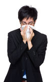 Businessman with nose allergy Royalty Free Stock Photo