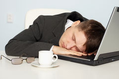 Businessman Not Enough Sleep Royalty Free Stock Image