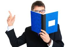 Businessman and notebook. Close up Royalty Free Stock Images