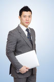 Businessman with notebook for presentation Stock Images