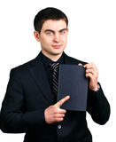 Businessman with a notebook stock image