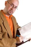 Businessman and notes Stock Images