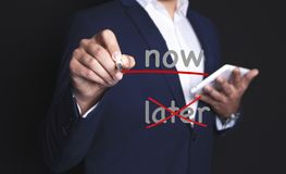 Businessman now later stock images