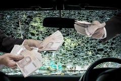 Businessman offer money for repair, Car insurance concept. Car insurance concept, Businessman offer money for repair Stock Photo