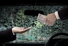 Businessman offer money for repair, Car insurance concept Stock Photos