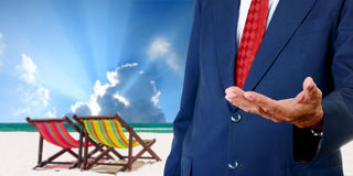 Businessman offer the summer trip Stock Image