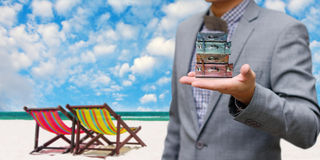 Businessman offer the summer trip Royalty Free Stock Images
