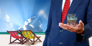 Businessman offer the summer trip Stock Photography