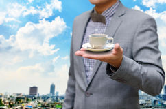 Businessman offer to invest in coffee business Stock Photos