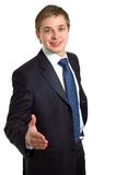Businessman offering a handshake. Isolated over a white background Stock Photos