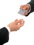 Businessman offering his business card. Isolated Royalty Free Stock Photos