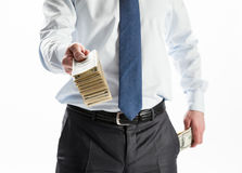 Businessman offering money to you Stock Photos