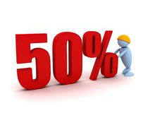 Businessman offers a 50 percentage. 3d image renderer Royalty Free Stock Photo
