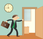 Businessman in office. Cartoon successfully businessman with portfolio in office Stock Photos