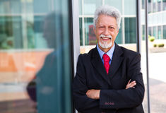 Businessman with an office building Stock Photography