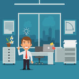 Businessman in Office Came Up With Idea Royalty Free Stock Photo