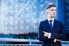 Businessman and office center stock photos