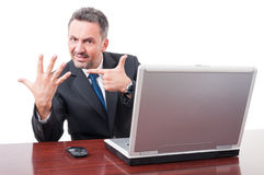 Businessman in office counting number seven Royalty Free Stock Images