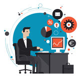Businessman in the office flat illustration. Flat design style modern vector illustration concept of smiling business man in formal suit sitting at the desk and