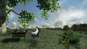 Businessman with Office on green meadow, countryside scenery, stock footage Stock Photos
