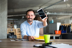 Businessman in office interior Royalty Free Stock Photos