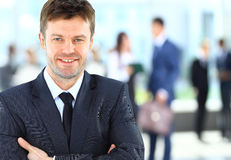 Businessman at the office leading a group Stock Photography