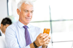Businessman at the office with mobile phone Stock Images