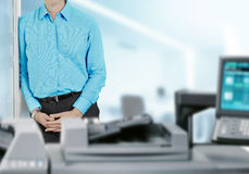 Businessman With Office Printer Royalty Free Stock Photo