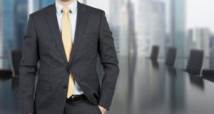 Businessman  in office. Businessman standing in modern office, close up Stock Images