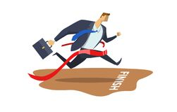 Businessman in office suit crossing finish line. Achieving goals. Race for success. Hurry up. Concept vector flat. Businessman in office suit crossing finish Stock Photography