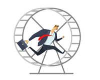Businessman in office suit running in a wheel like a squirrel. Running in place. Hurry up. Race for success. Concept. Businessman in office suit running in a vector illustration