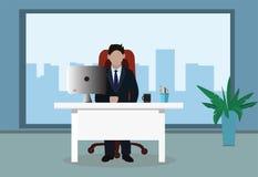 Businessman in office. Vector illustration stock illustration