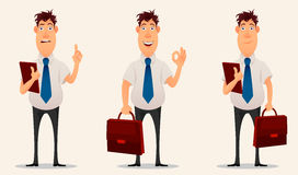 Businessman, office worker. Cartoon character. Set of three poses of creative young man. Royalty Free Stock Photography