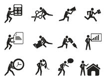 Businessman office working man icons set. Isolated businessman office working man icons set from white background Royalty Free Stock Photography