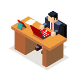 Businessman office workroom with laptop and Royalty Free Stock Images