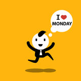 Businessman and officer 'I love Monday' cartoon concept illustra Stock Images
