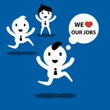 Businessman and officer, we love our jobs, cartoon concept illus Royalty Free Stock Photography