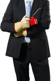 Businessman with an oil can Stock Photos