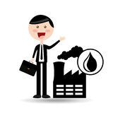 Businessman oil concept factory production. Vector illustration eps 10 stock illustration
