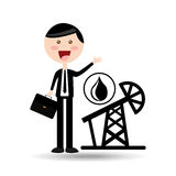 Businessman oil concept pumping tower Stock Photo