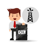 Businessman oil industry pumping tower Stock Photography