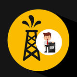 Businessman oil industry pumping tower Royalty Free Stock Image