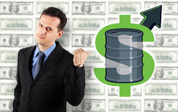 Businessman - Oil Price Up! Royalty Free Stock Images