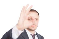 businessman ok showing symbol young Стоковое Изображение RF