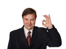 Businessman and Ok sign Royalty Free Stock Photo