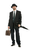 Businessman with an old bag Stock Images