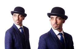 The businessman in old style hat Royalty Free Stock Images