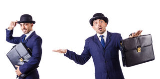 The businessman in old style hat Stock Images